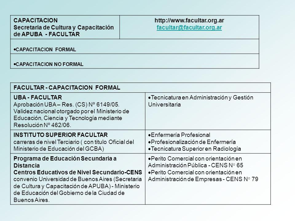 Secretaria de Cultura y Capacitación de APUBA - FACULTAR