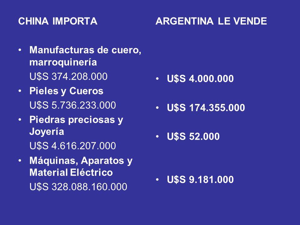 CHINA IMPORTA Manufacturas de cuero, marroquinería. U$S 374.208.000. Pieles y Cueros. U$S 5.736.233.000.