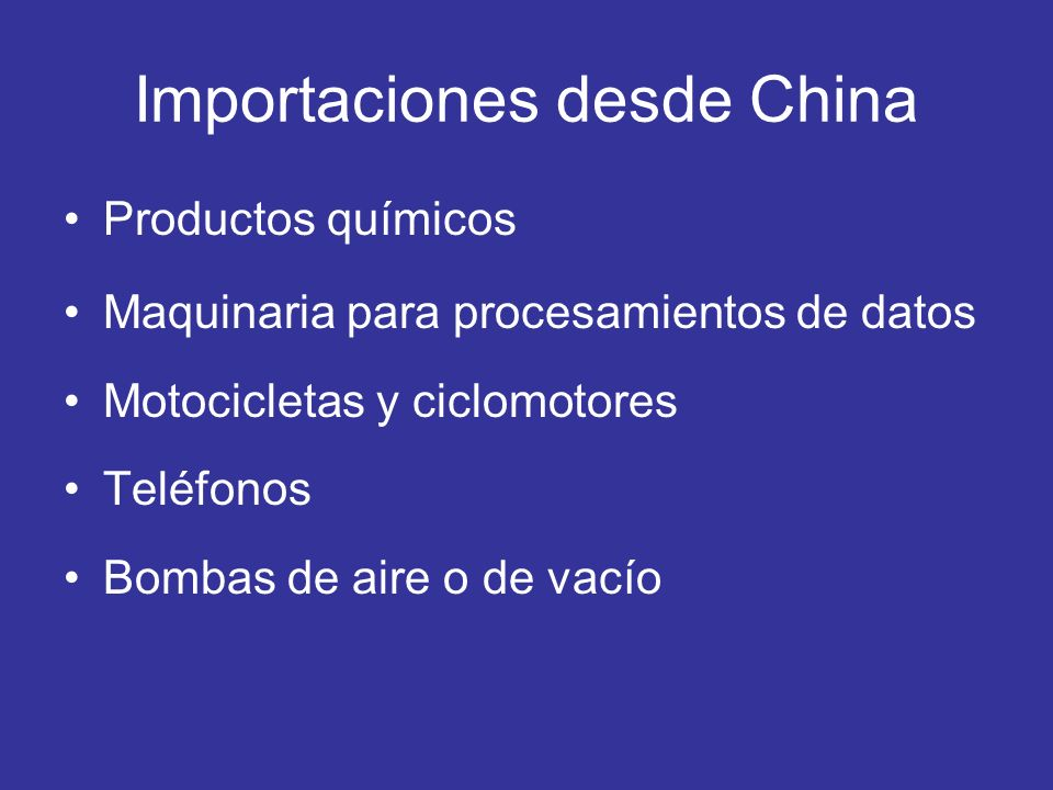 Importaciones desde China
