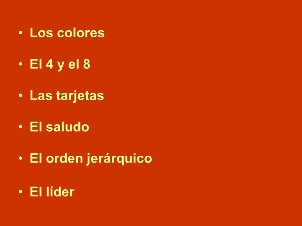 Los colores El 4 y el 8 Las tarjetas El saludo El orden jerárquico El líder