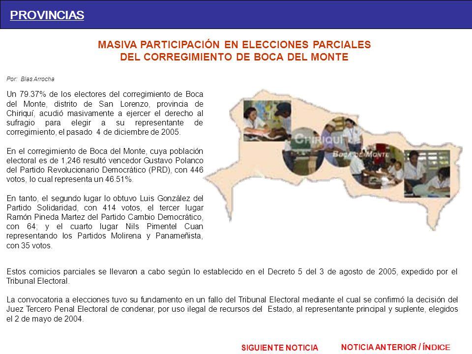 PROVINCIAS MASIVA PARTICIPACIÓN EN ELECCIONES PARCIALES