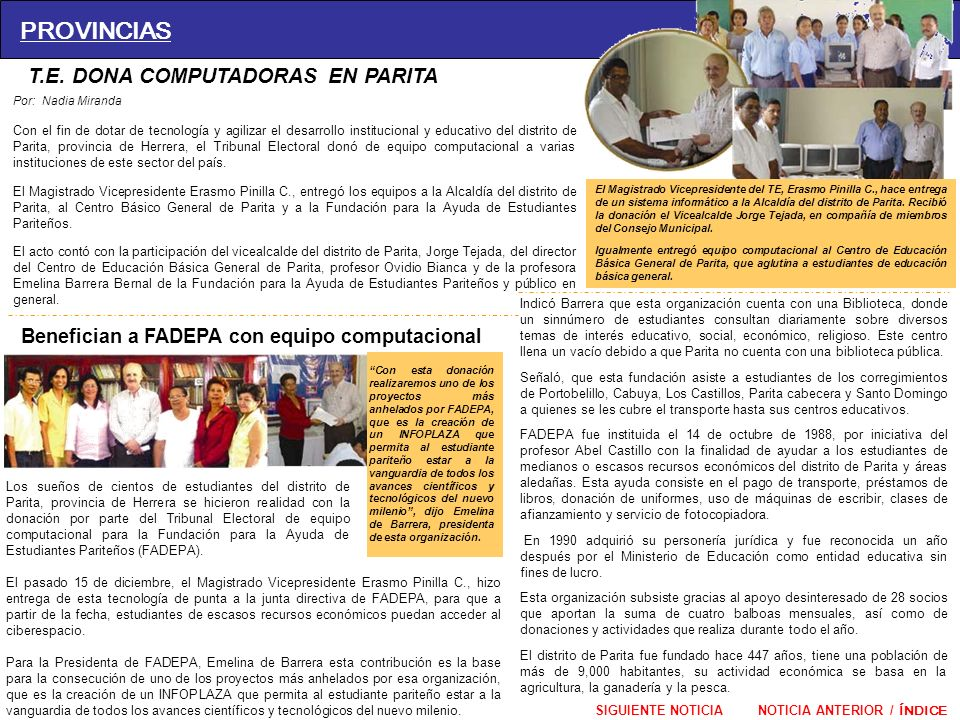 PROVINCIAS T.E. DONA COMPUTADORAS EN PARITA
