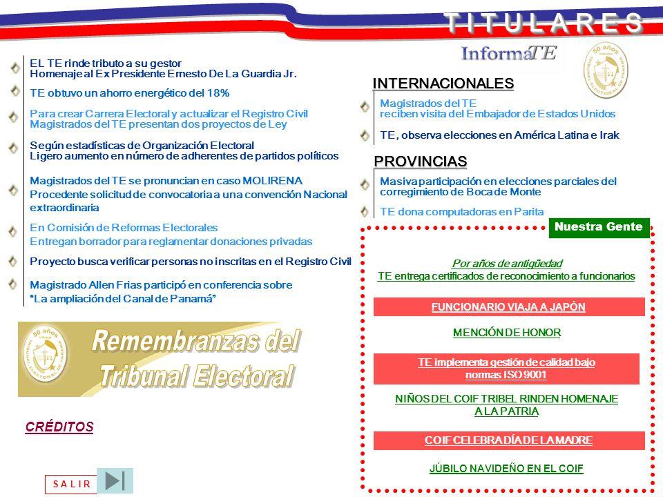 Remembranzas del Tribunal Electoral T I T U L A R E S INTERNACIONALES