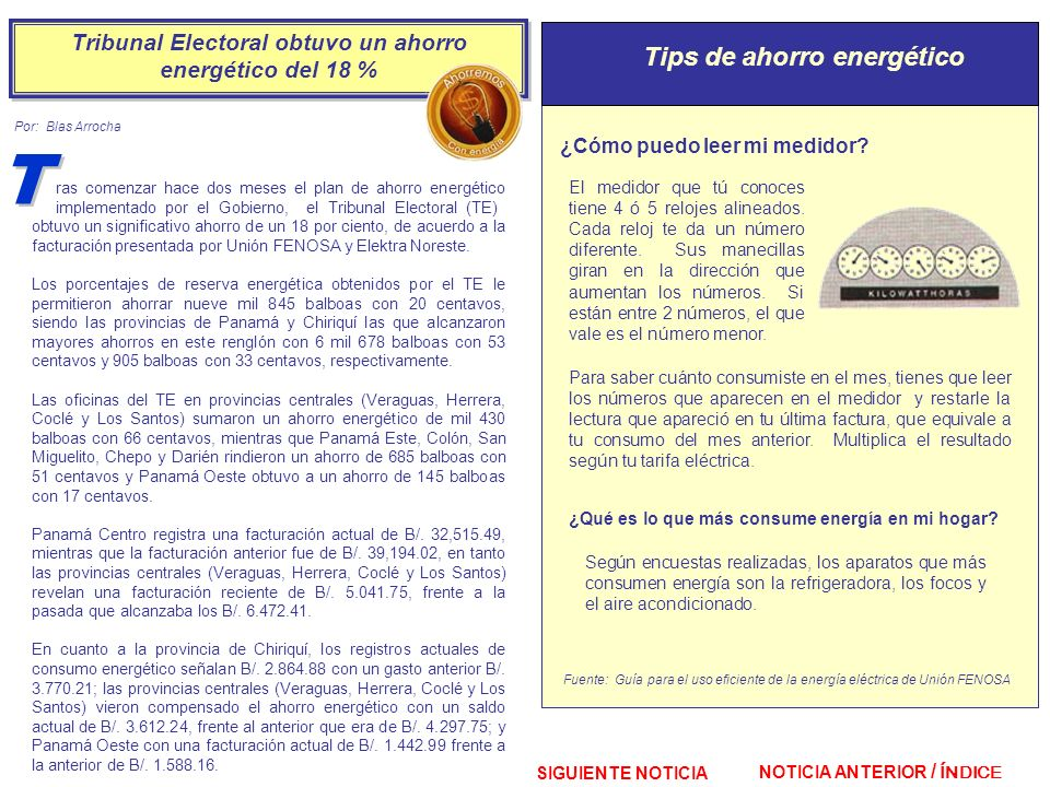 Tribunal Electoral obtuvo un ahorro energético del 18 %