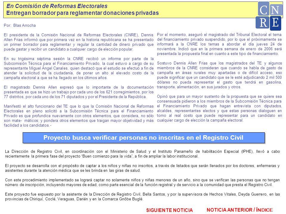 Proyecto busca verificar personas no inscritas en el Registro Civil