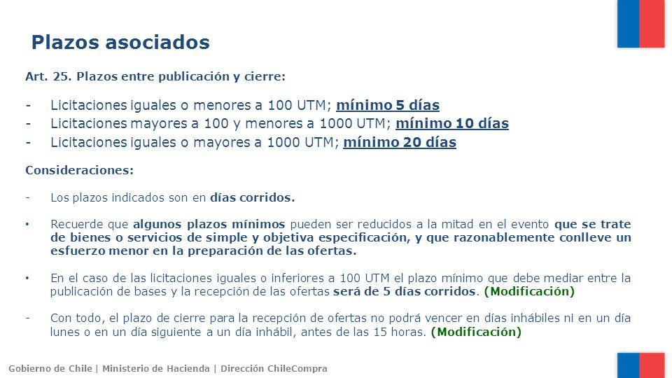 Plazos asociados Art. 25. Plazos entre publicación y cierre: Licitaciones iguales o menores a 100 UTM; mínimo 5 días.