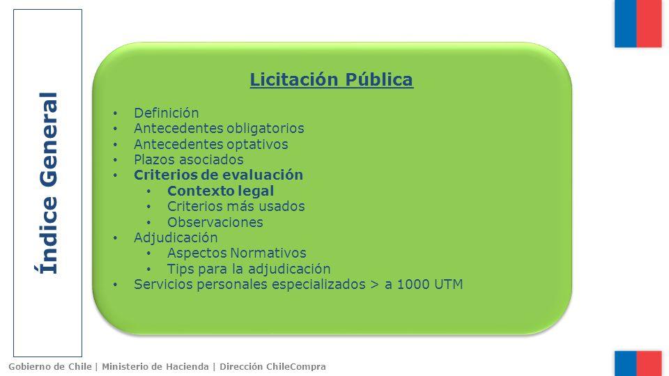 Índice General Licitación Pública Definición Antecedentes obligatorios