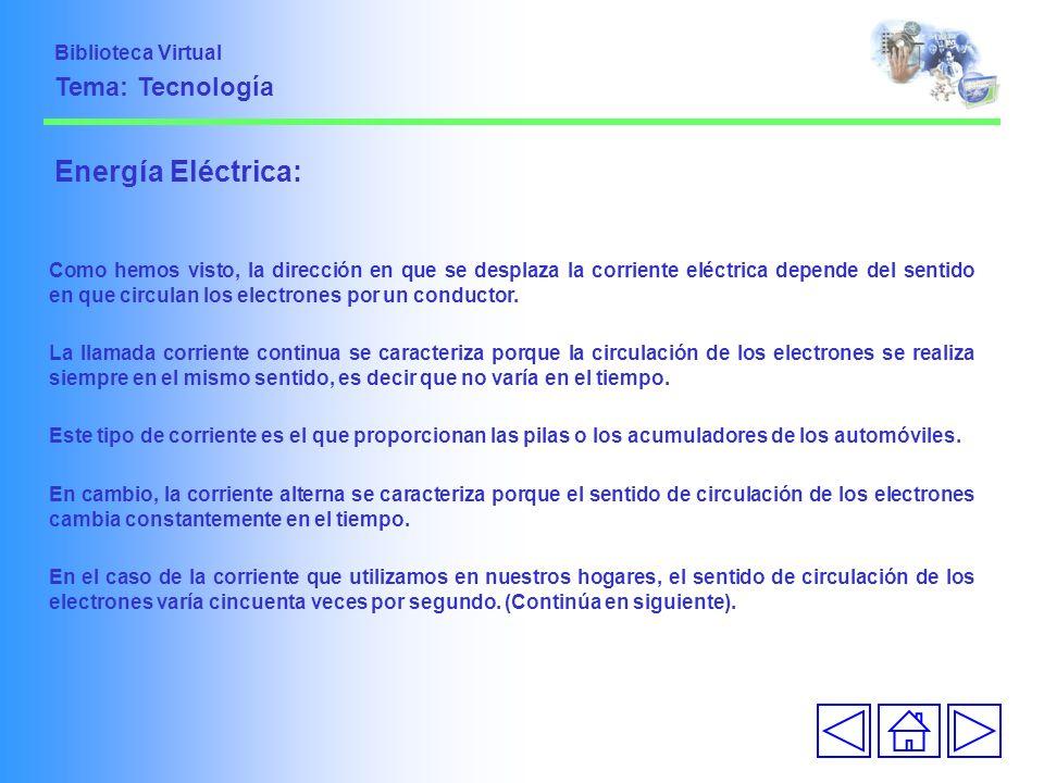 Energía Eléctrica: Tema: Tecnología Biblioteca Virtual