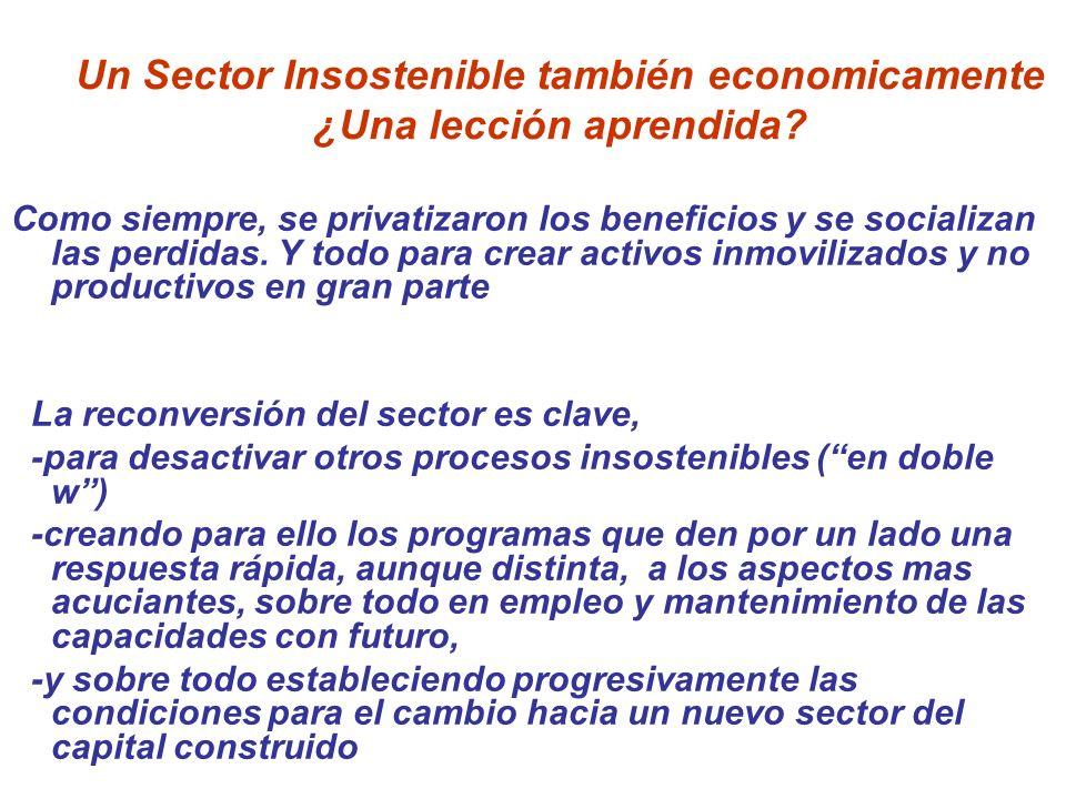 Un Sector Insostenible también economicamente ¿Una lección aprendida