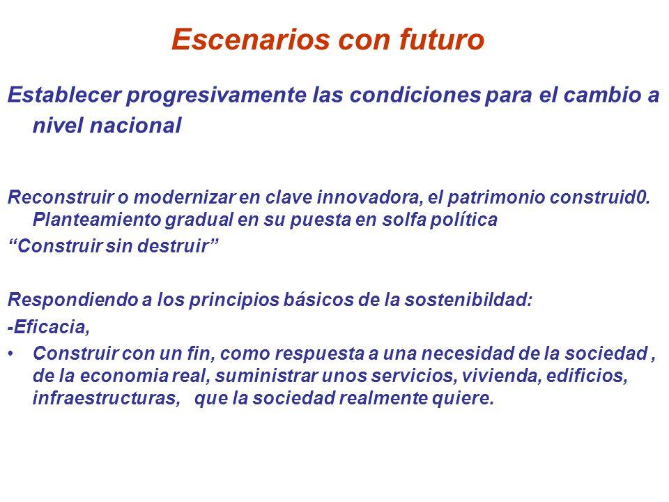 Escenarios con futuro Establecer progresivamente las condiciones para el cambio a nivel nacional.