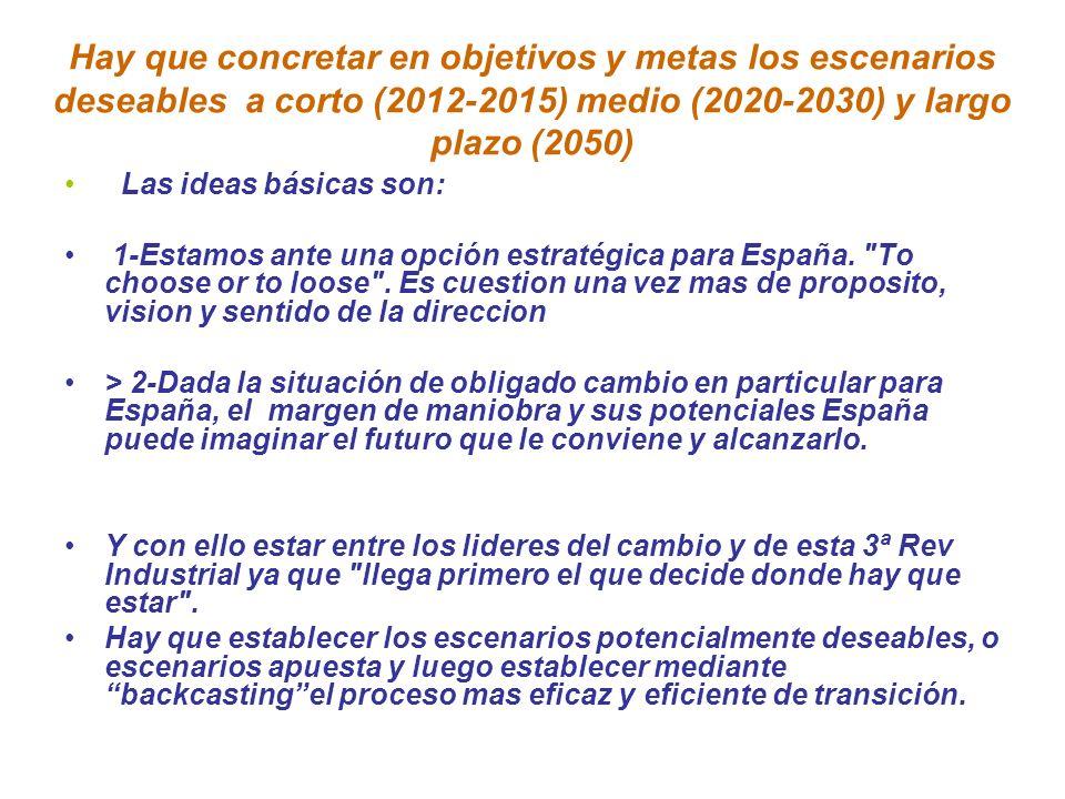 Hay que concretar en objetivos y metas los escenarios deseables a corto (2012-2015) medio (2020-2030) y largo plazo (2050)