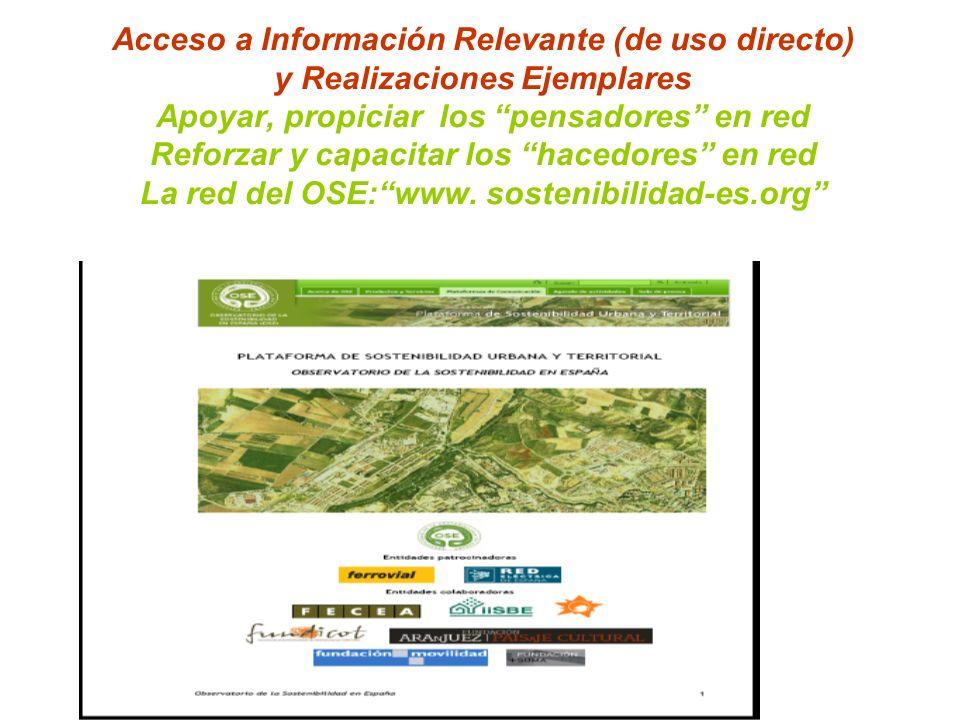 Acceso a Información Relevante (de uso directo) y Realizaciones Ejemplares Apoyar, propiciar los pensadores en red Reforzar y capacitar los hacedores en red La red del OSE: www.