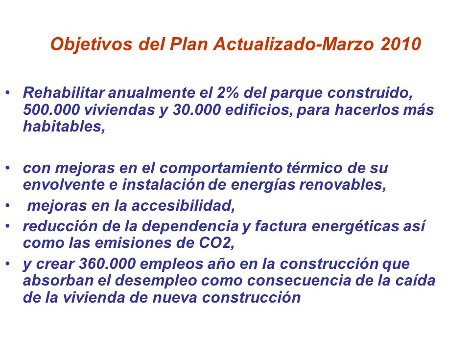 Objetivos del Plan Actualizado-Marzo 2010