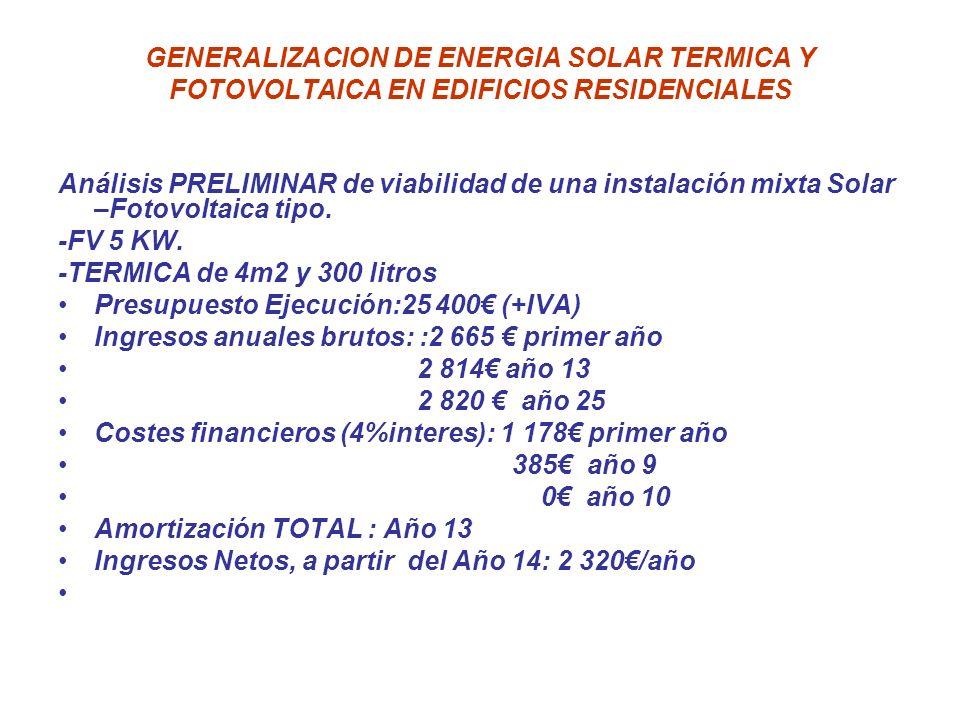 GENERALIZACION DE ENERGIA SOLAR TERMICA Y FOTOVOLTAICA EN EDIFICIOS RESIDENCIALES