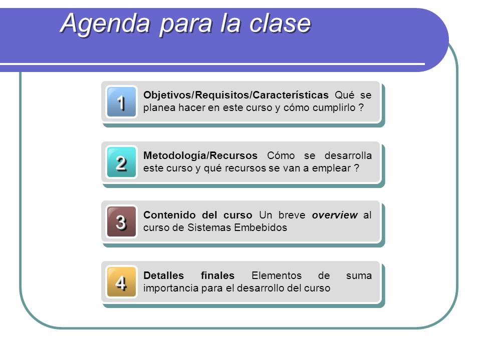 Agenda para la clase 1. Objetivos/Requisitos/Características Qué se planea hacer en este curso y cómo cumplirlo