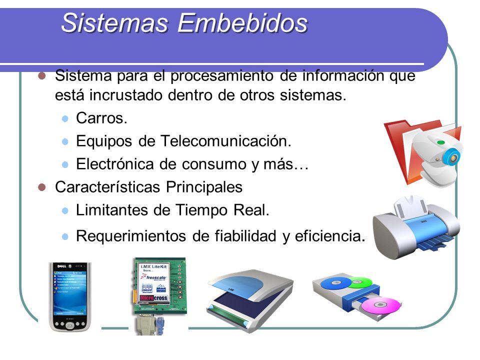 Sistemas Embebidos Sistema para el procesamiento de información que está incrustado dentro de otros sistemas.