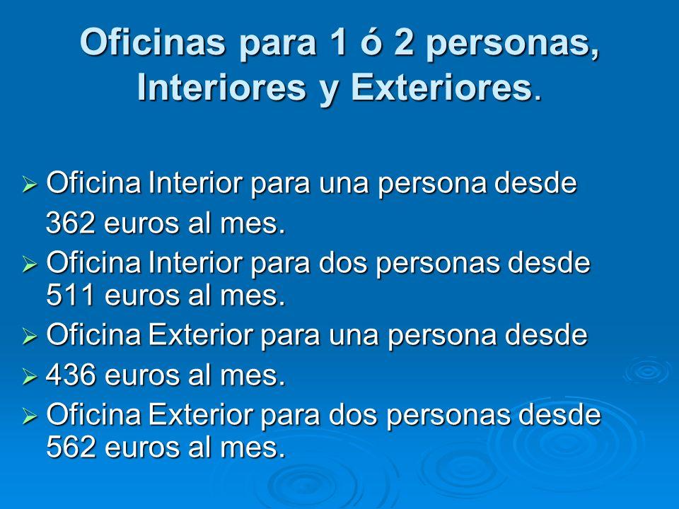Oficinas para 1 ó 2 personas, Interiores y Exteriores.