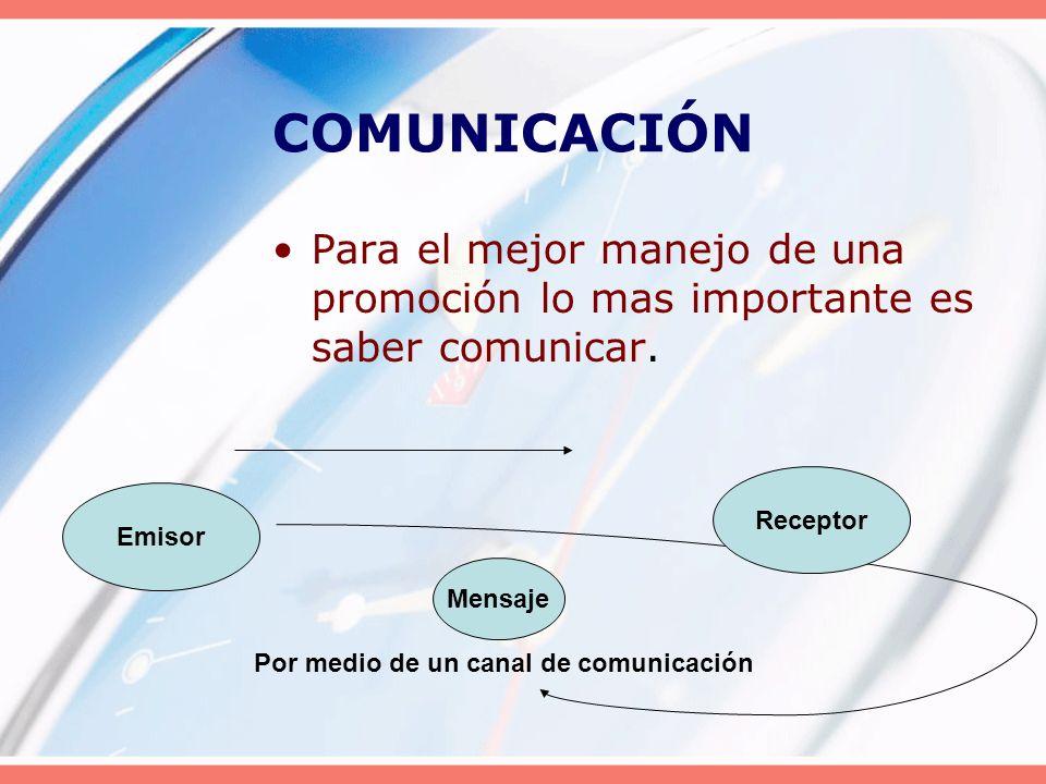 COMUNICACIÓN Para el mejor manejo de una promoción lo mas importante es saber comunicar. Receptor.