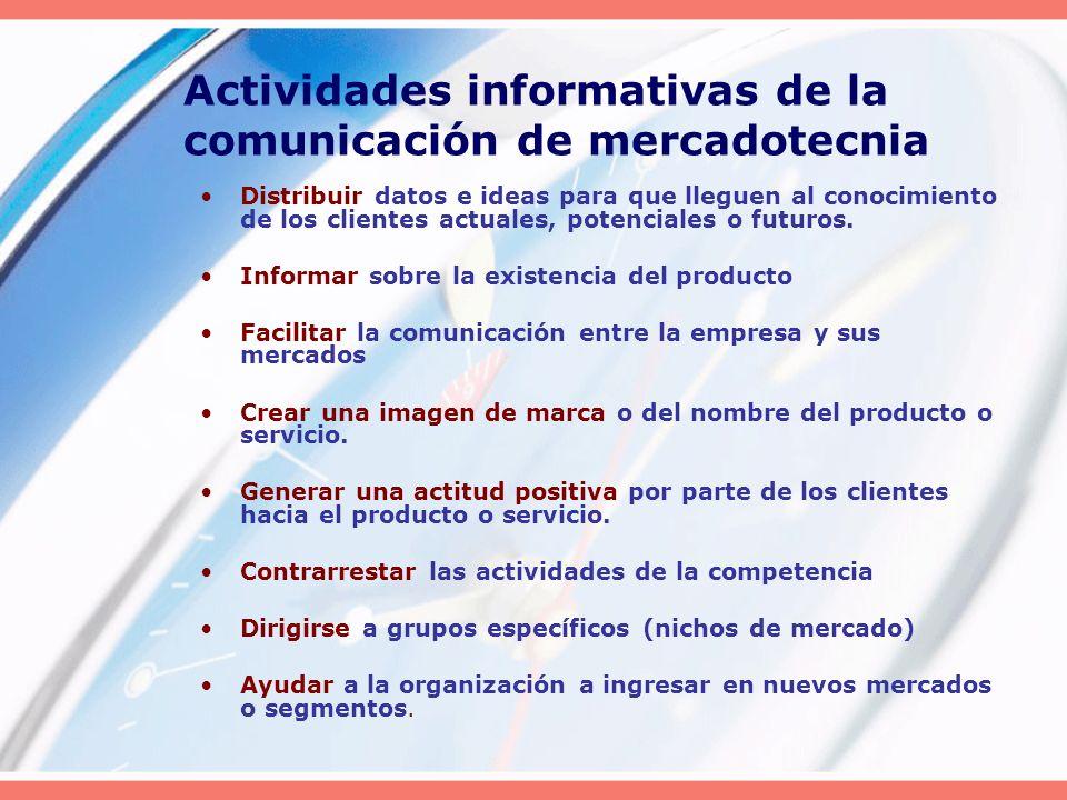 Actividades informativas de la comunicación de mercadotecnia
