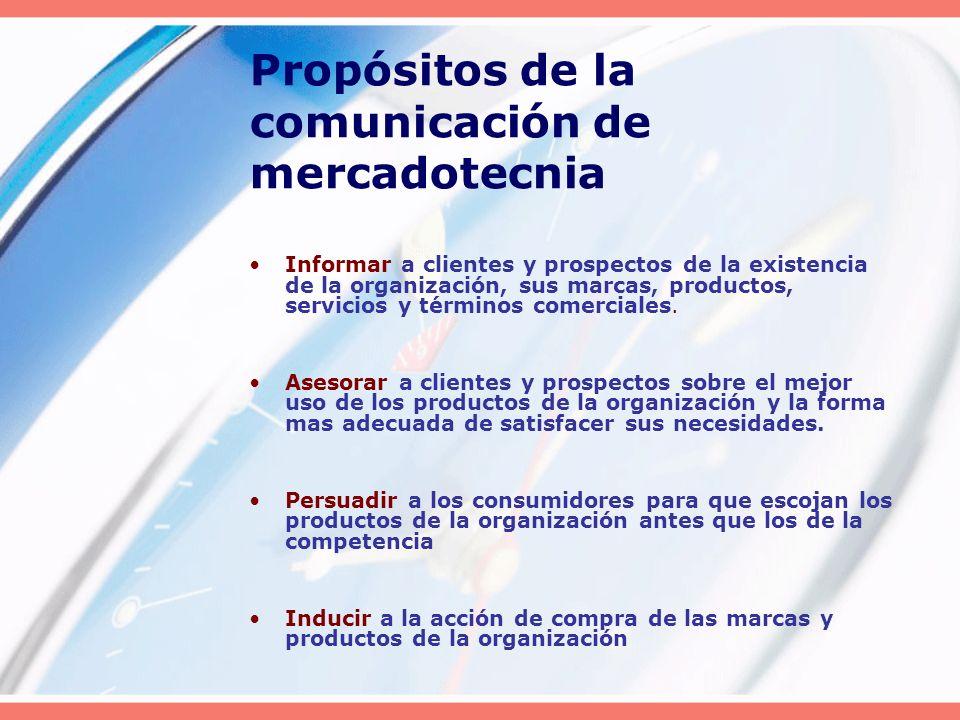 Propósitos de la comunicación de mercadotecnia