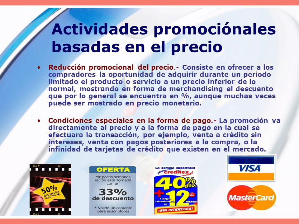 Actividades promociónales basadas en el precio