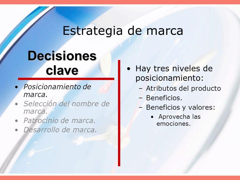 Decisiones clave Estrategia de marca