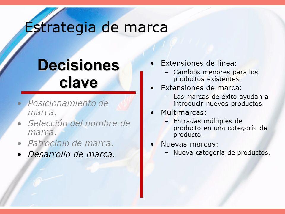 Decisiones clave Estrategia de marca Posicionamiento de marca.