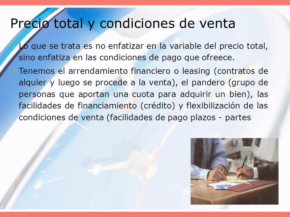 Precio total y condiciones de venta