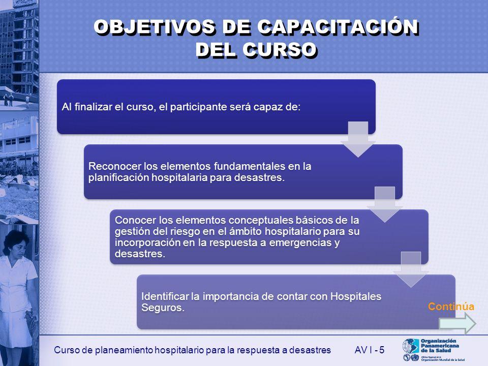OBJETIVOS DE CAPACITACIÓN DEL CURSO