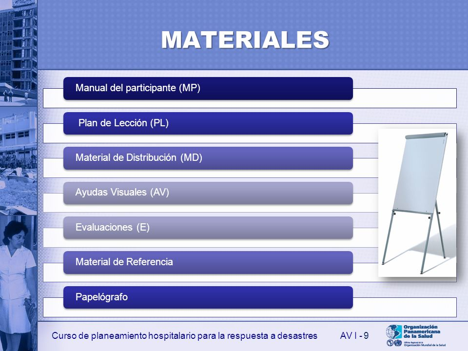MATERIALES 9 Manual del participante (MP) Plan de Lección (PL)