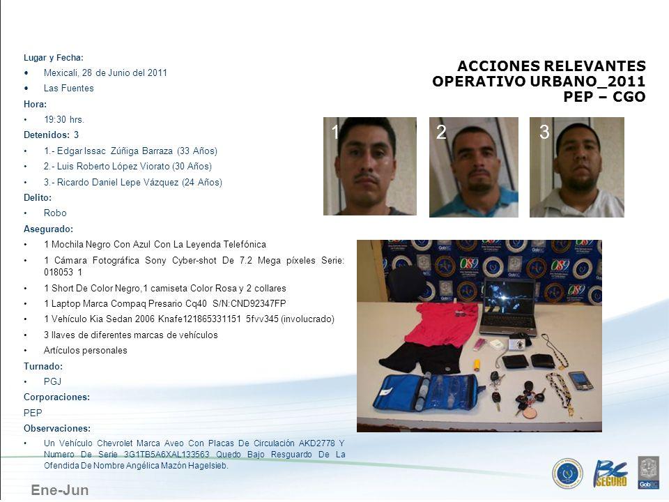 MEXICALI 1 2 3 ACCIONES RELEVANTES OPERATIVO URBANO_2011 PEP – CGO