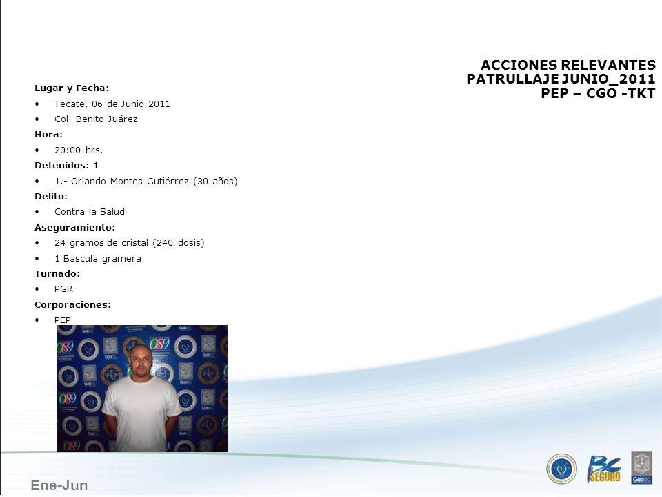 TECATE ACCIONES RELEVANTES PATRULLAJE JUNIO_2011 PEP – CGO -TKT
