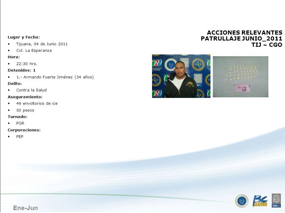 TIJUANA ACCIONES RELEVANTES PATRULLAJE JUNIO_2011 TIJ – CGO