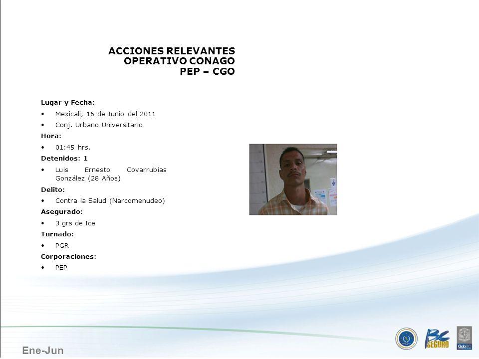 MEXICALI ACCIONES RELEVANTES OPERATIVO CONAGO PEP – CGO Lugar y Fecha: