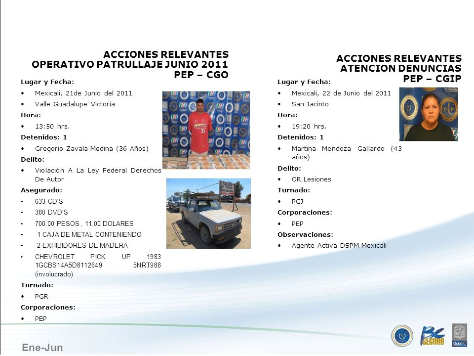 MEXICALI ACCIONES RELEVANTES OPERATIVO PATRULLAJE JUNIO 2011