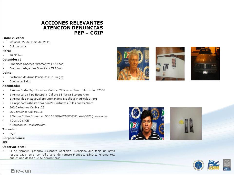MEXICALI ACCIONES RELEVANTES ATENCION DENUNCIAS PEP – CGIP
