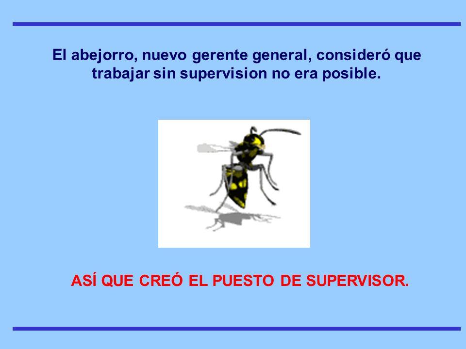 ASÍ QUE CREÓ EL PUESTO DE SUPERVISOR.