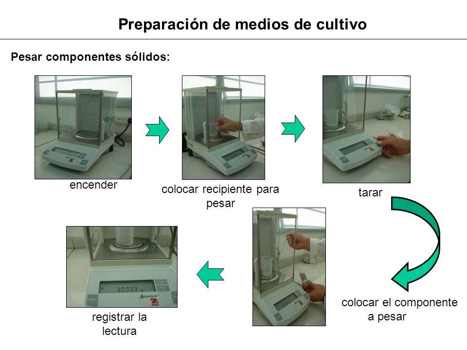 Preparación de medios de cultivo Pesar componentes sólidos: