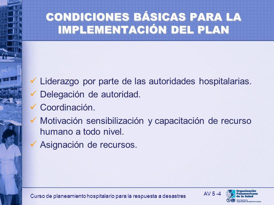 CONDICIONES BÁSICAS PARA LA IMPLEMENTACIÓN DEL PLAN
