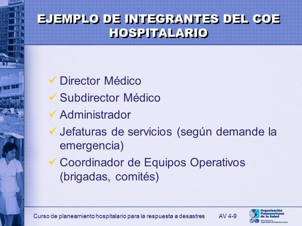 EJEMPLO DE INTEGRANTES DEL COE HOSPITALARIO