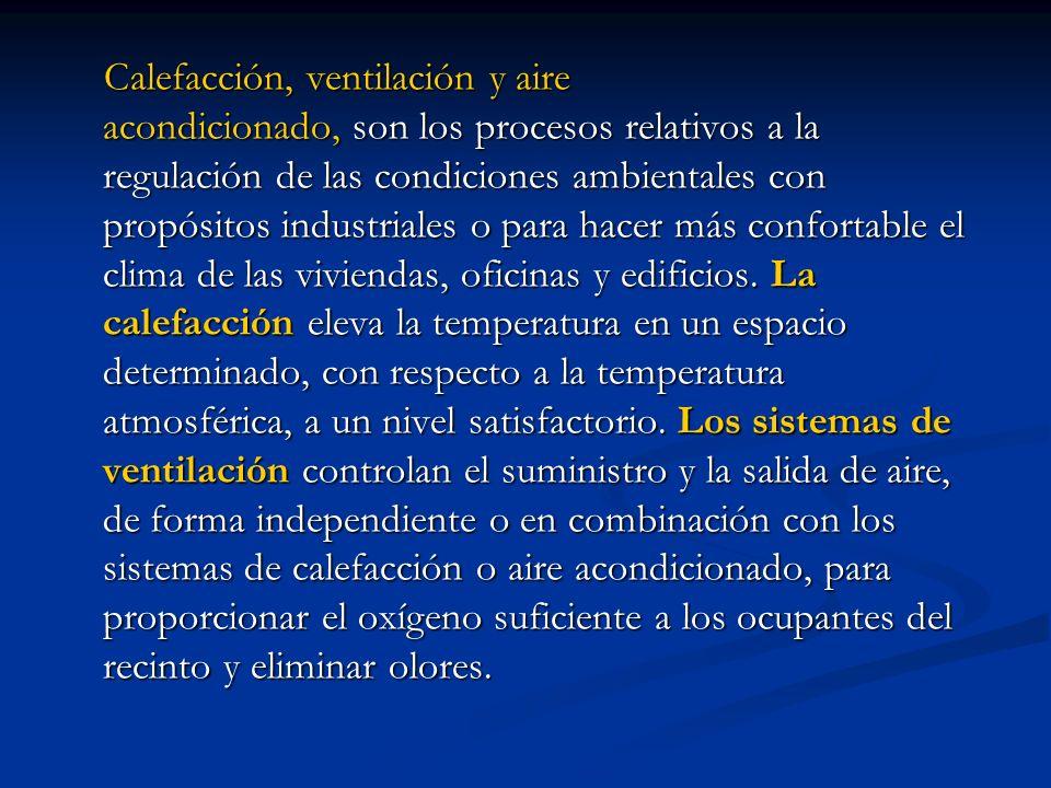 Calefacción, ventilación y aire acondicionado, son los procesos relativos a la regulación de las condiciones ambientales con propósitos industriales o para hacer más confortable el clima de las viviendas, oficinas y edificios.