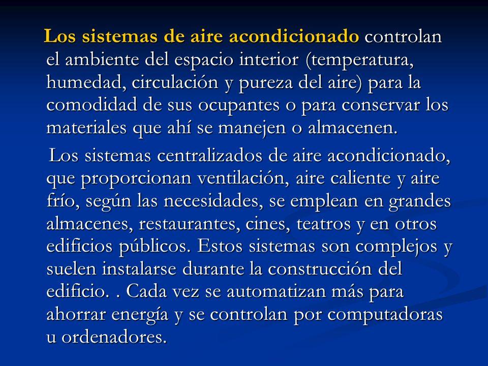 Los sistemas de aire acondicionado controlan el ambiente del espacio interior (temperatura, humedad, circulación y pureza del aire) para la comodidad de sus ocupantes o para conservar los materiales que ahí se manejen o almacenen.