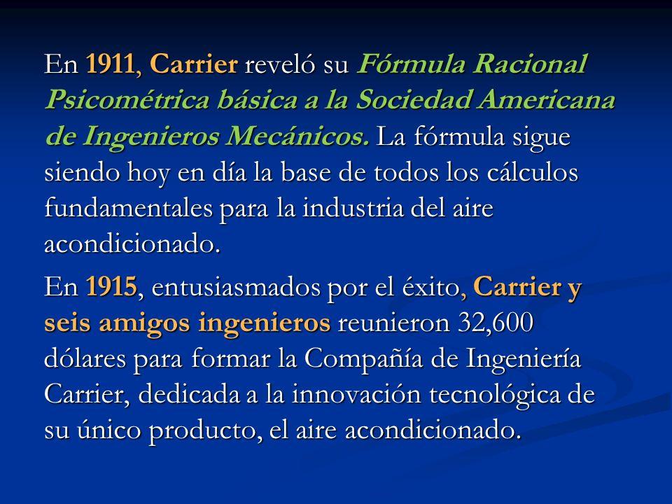 En 1911, Carrier reveló su Fórmula Racional Psicométrica básica a la Sociedad Americana de Ingenieros Mecánicos. La fórmula sigue siendo hoy en día la base de todos los cálculos fundamentales para la industria del aire acondicionado.