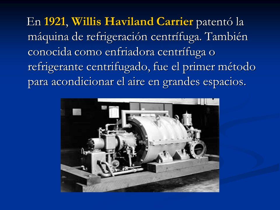 En 1921, Willis Haviland Carrier patentó la máquina de refrigeración centrífuga.