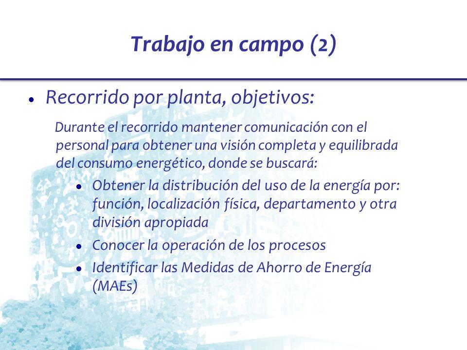 Trabajo en campo (2) Recorrido por planta, objetivos: