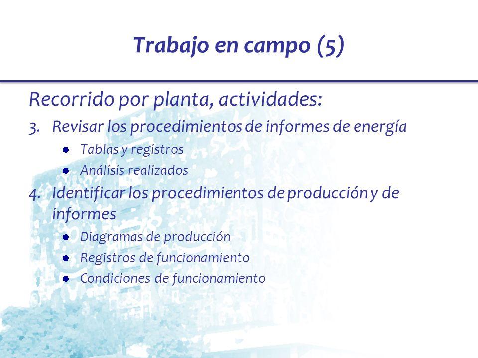 Trabajo en campo (5) Recorrido por planta, actividades: