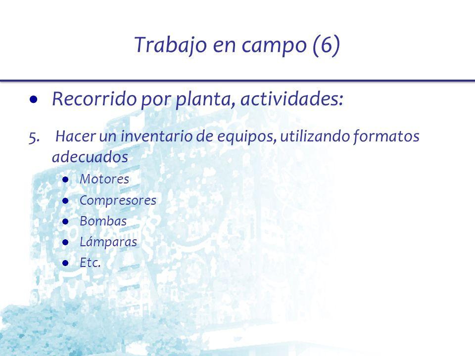 Trabajo en campo (6) Recorrido por planta, actividades: