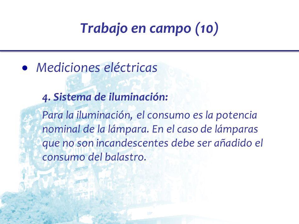 Trabajo en campo (10) Mediciones eléctricas 4. Sistema de iluminación: