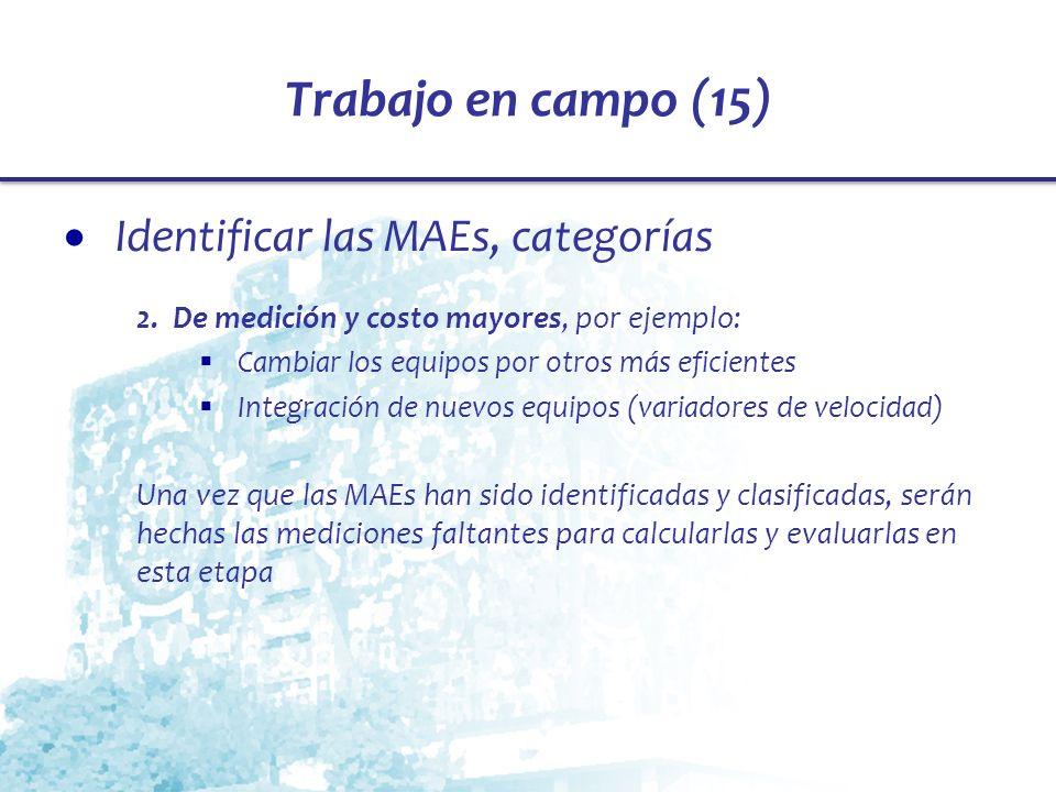 Trabajo en campo (15) Identificar las MAEs, categorías