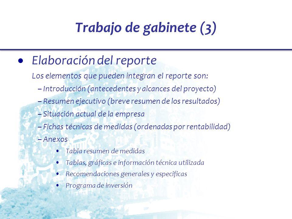 Trabajo de gabinete (3) Elaboración del reporte
